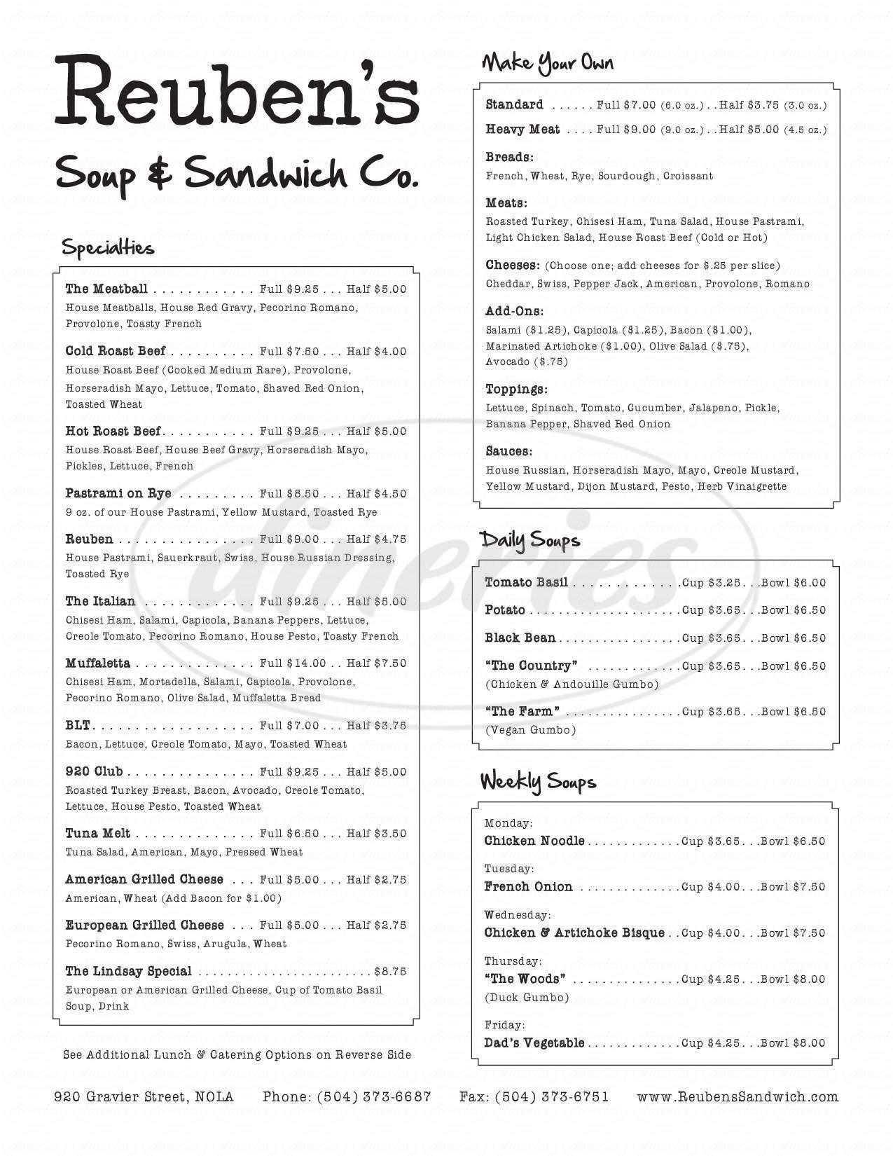 menu for Reuben's Soup & Sandwich Company