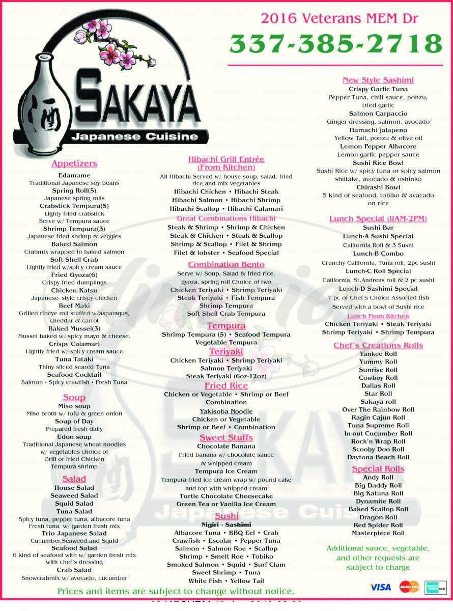 menu for Sakaya Japanese Cuisine