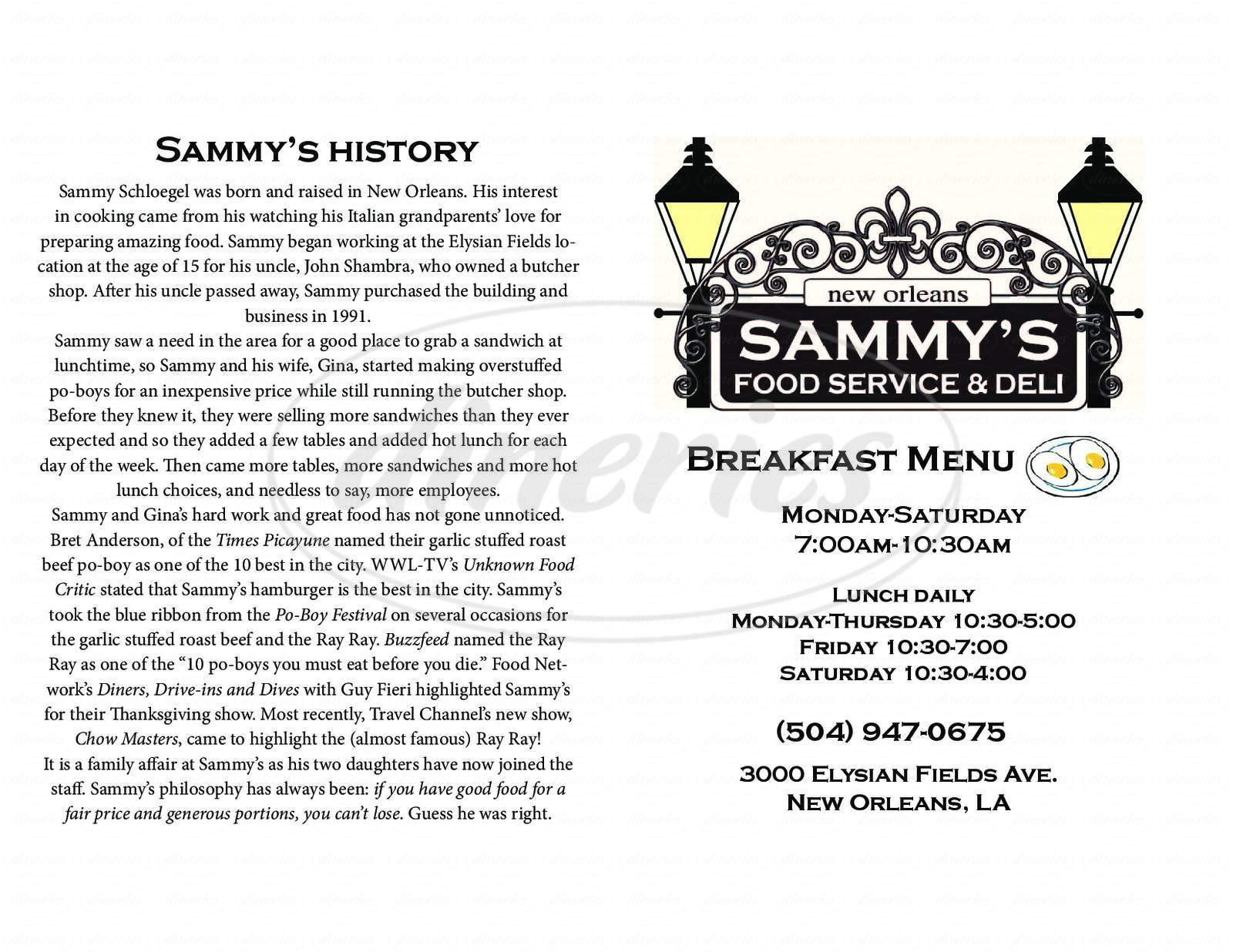 menu for Sammy's Food Service & Deli
