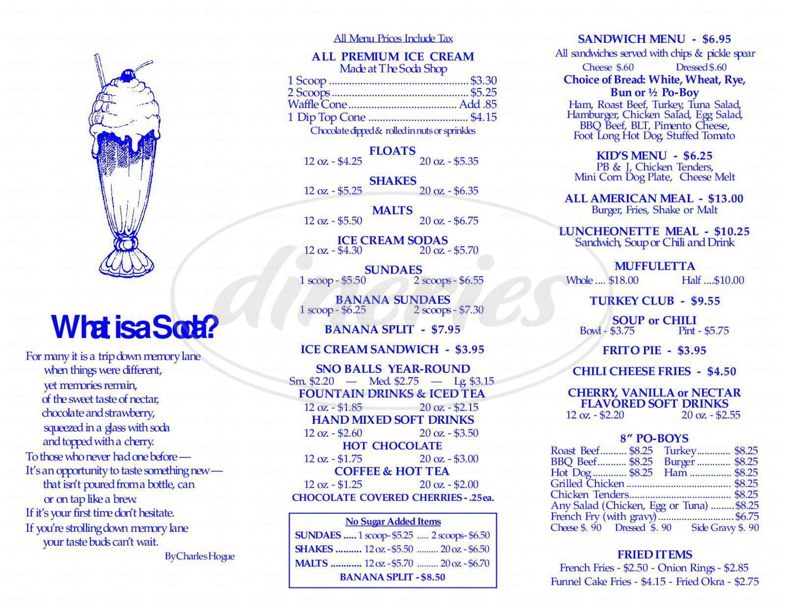 menu for Old Town Slidell Soda Shop