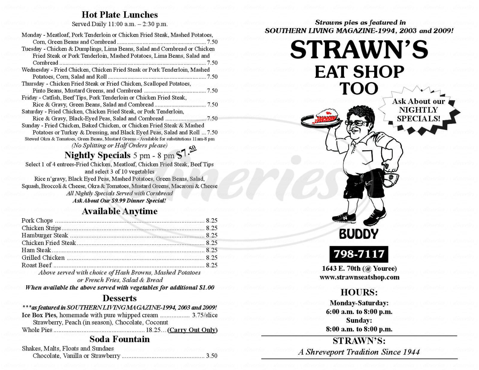 menu for Strawn's Eat Shop Too