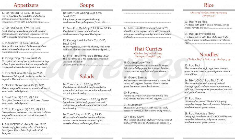 menu for Thailicious