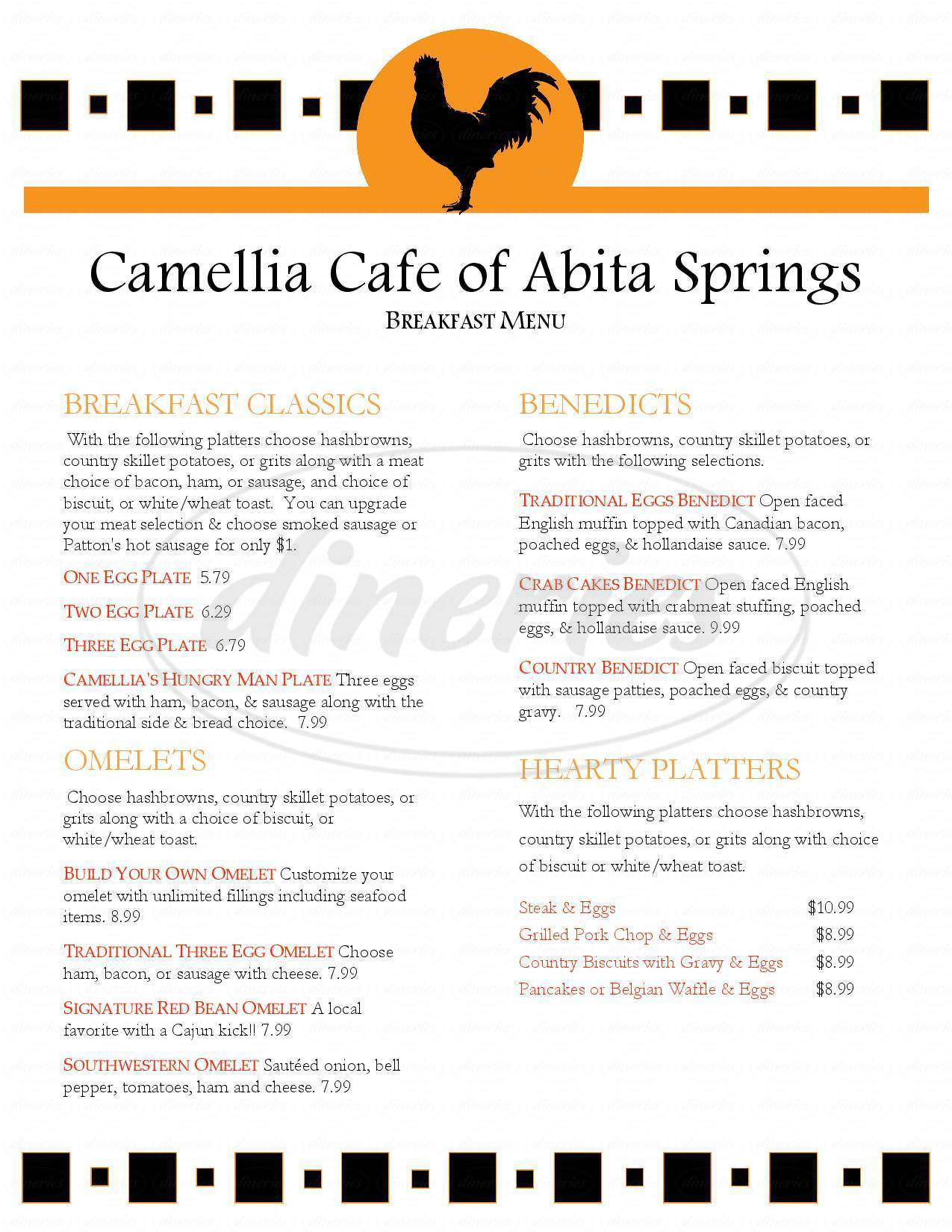 menu for Camilla Cafe