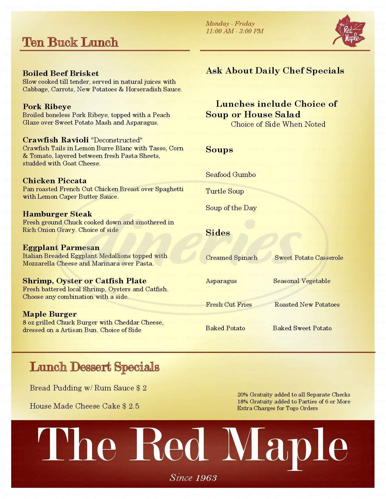 menu for Red Maple Restaurant