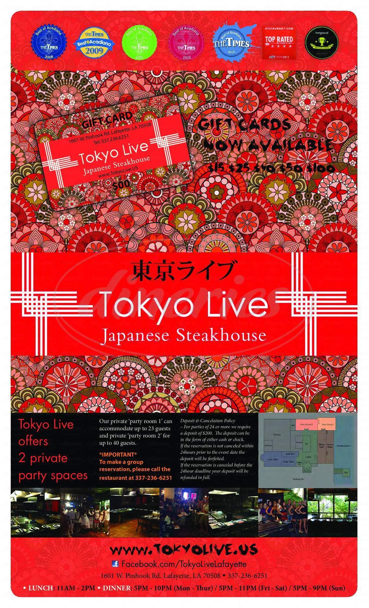 menu for Tokyo Live