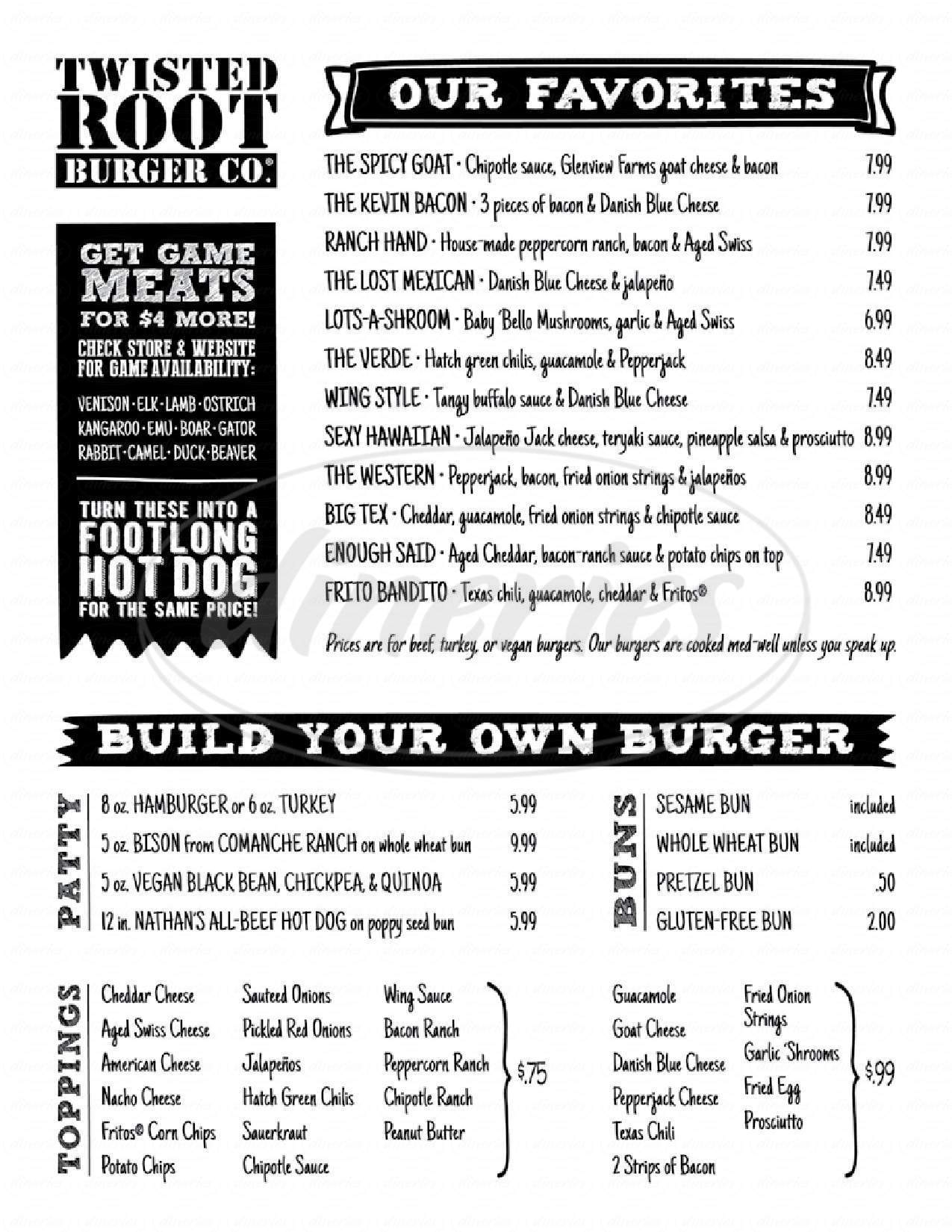 menu for Twisted Root Burger Co.