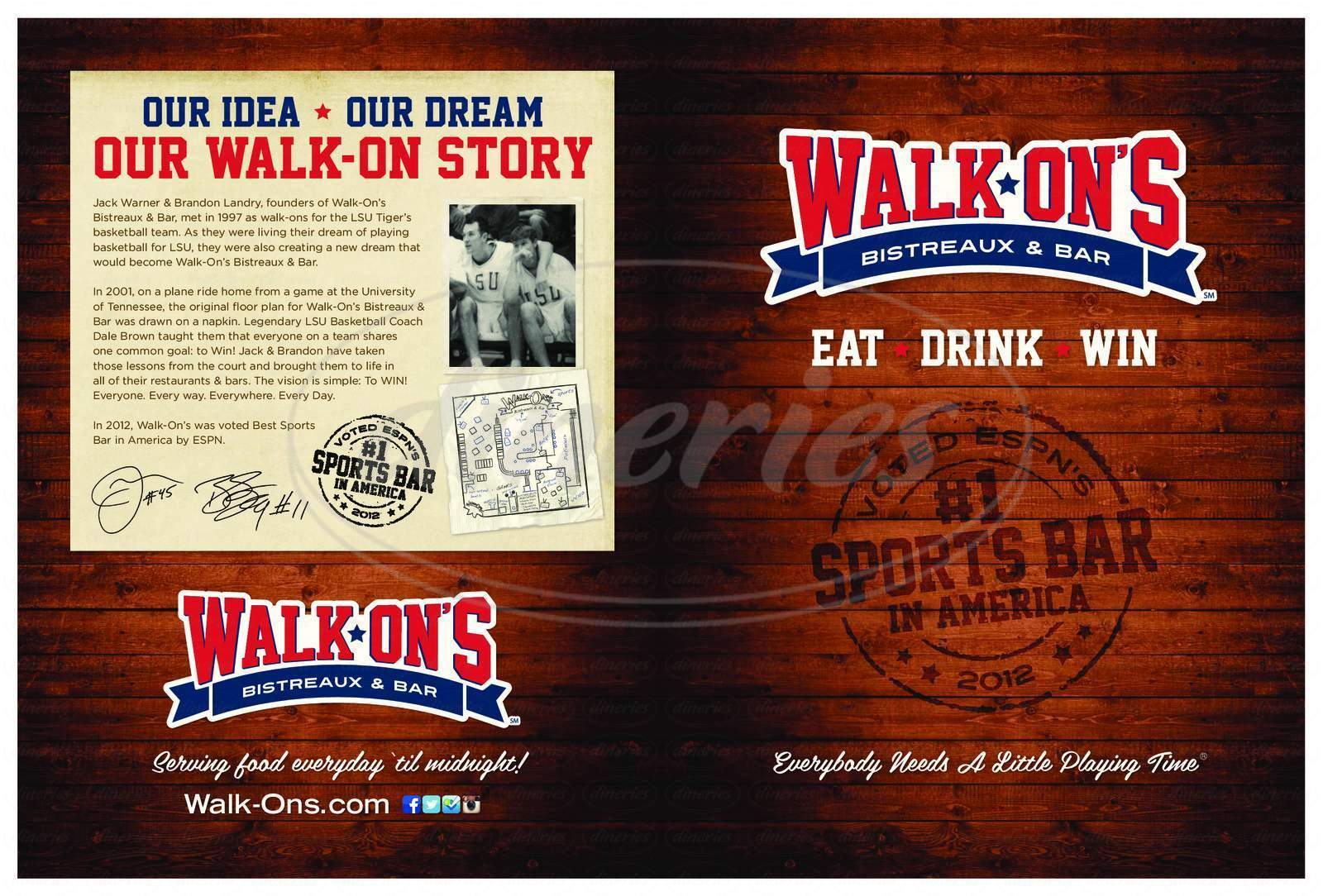 menu for Walk-Ons