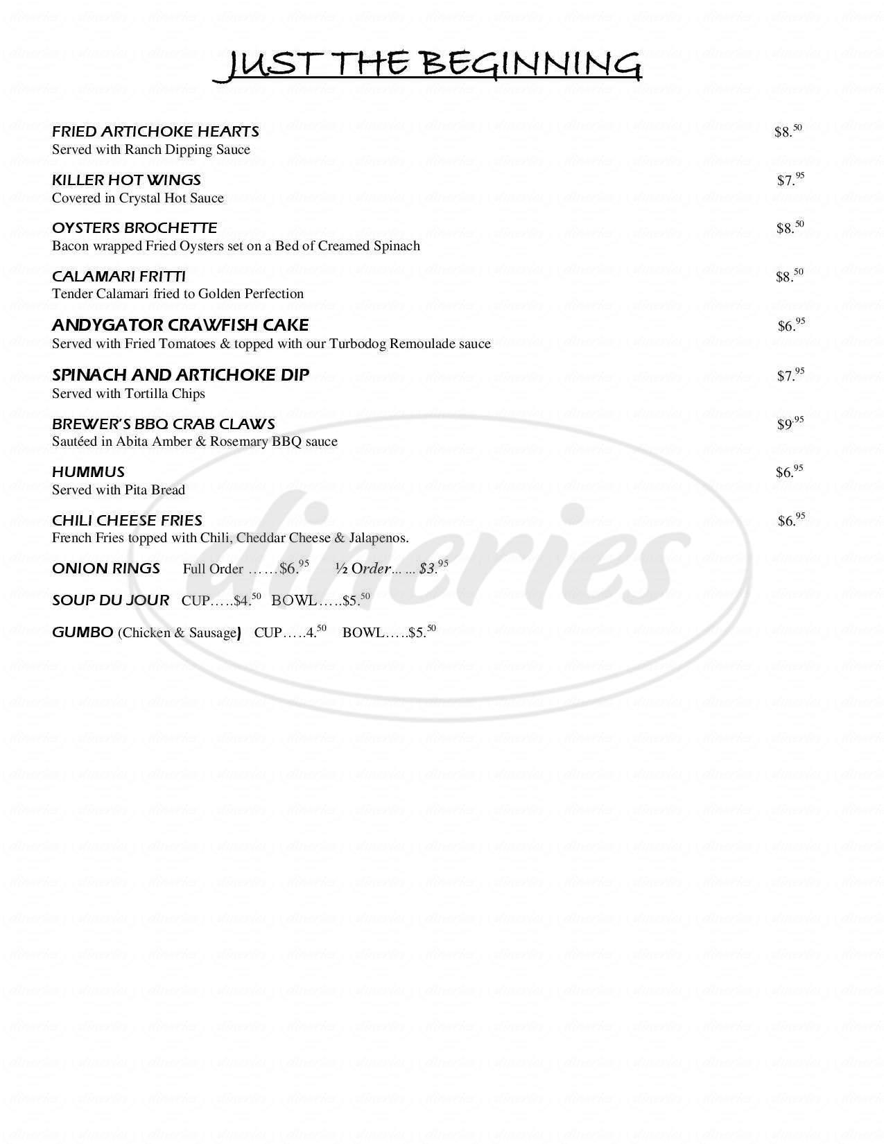 menu for Abita Brew Pub