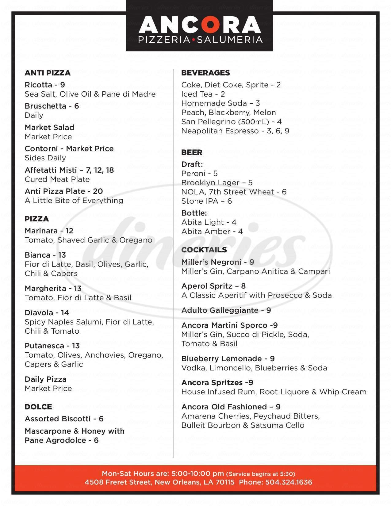 menu for Ancora
