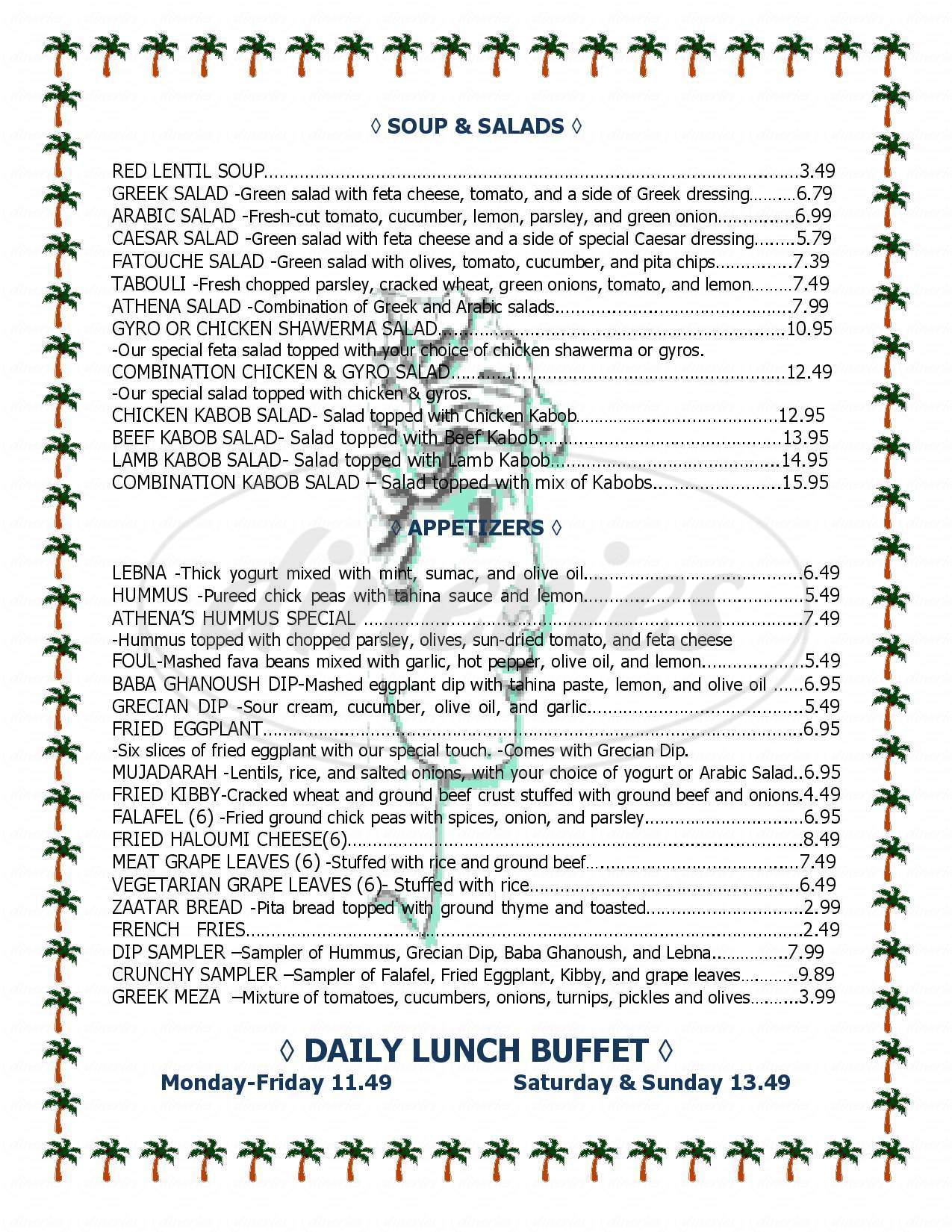menu for Athena Greek & Lebanese Food