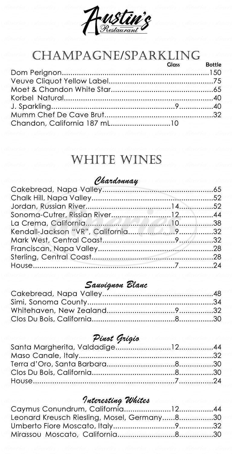 menu for Austin's Restaurant