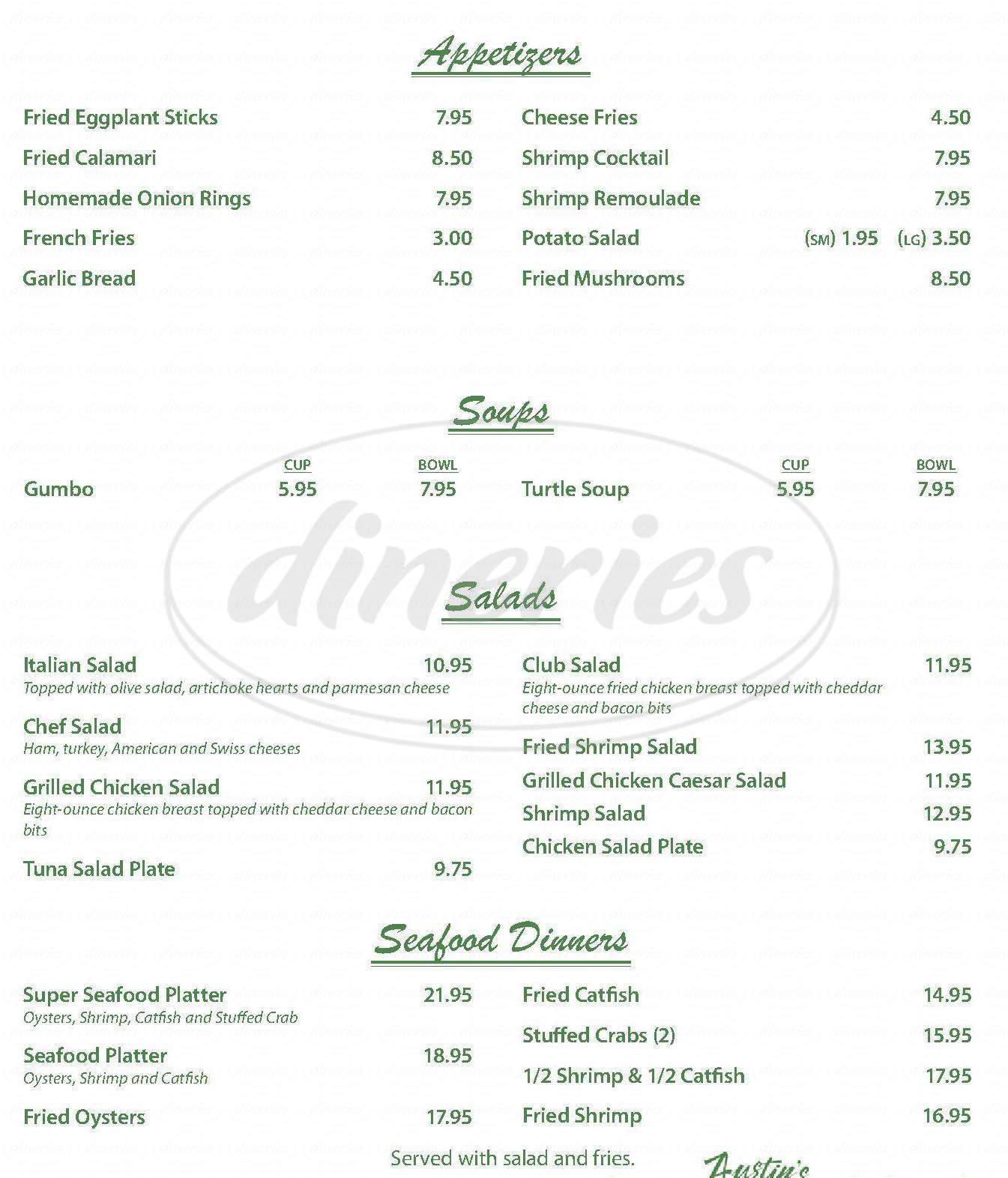 menu for Mr Ed's Restaurant & Catering
