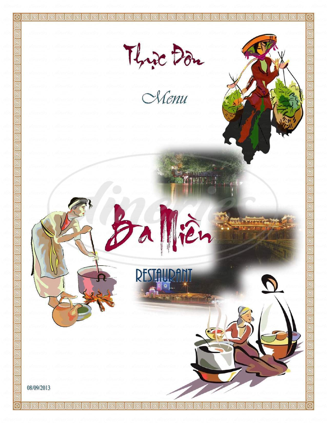 menu for Ba Mien Restaurant