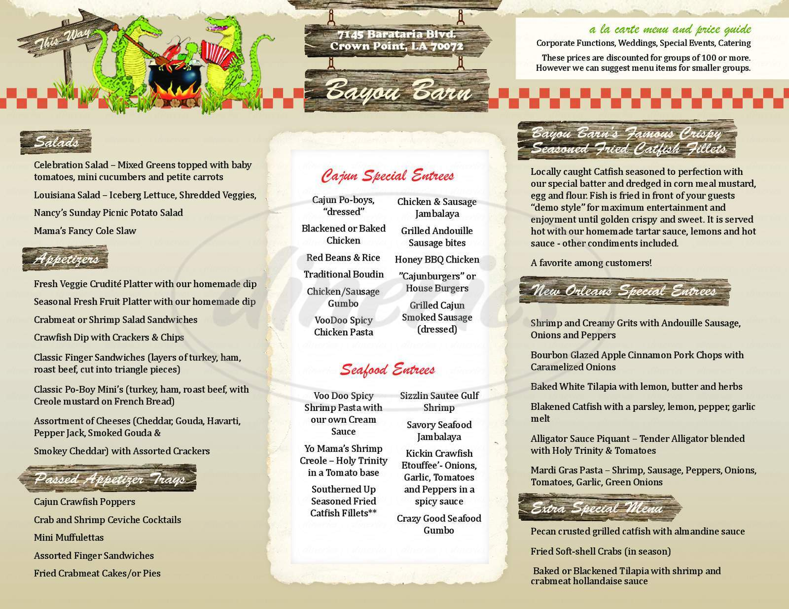 menu for Bayou Barn Cajun Festivals