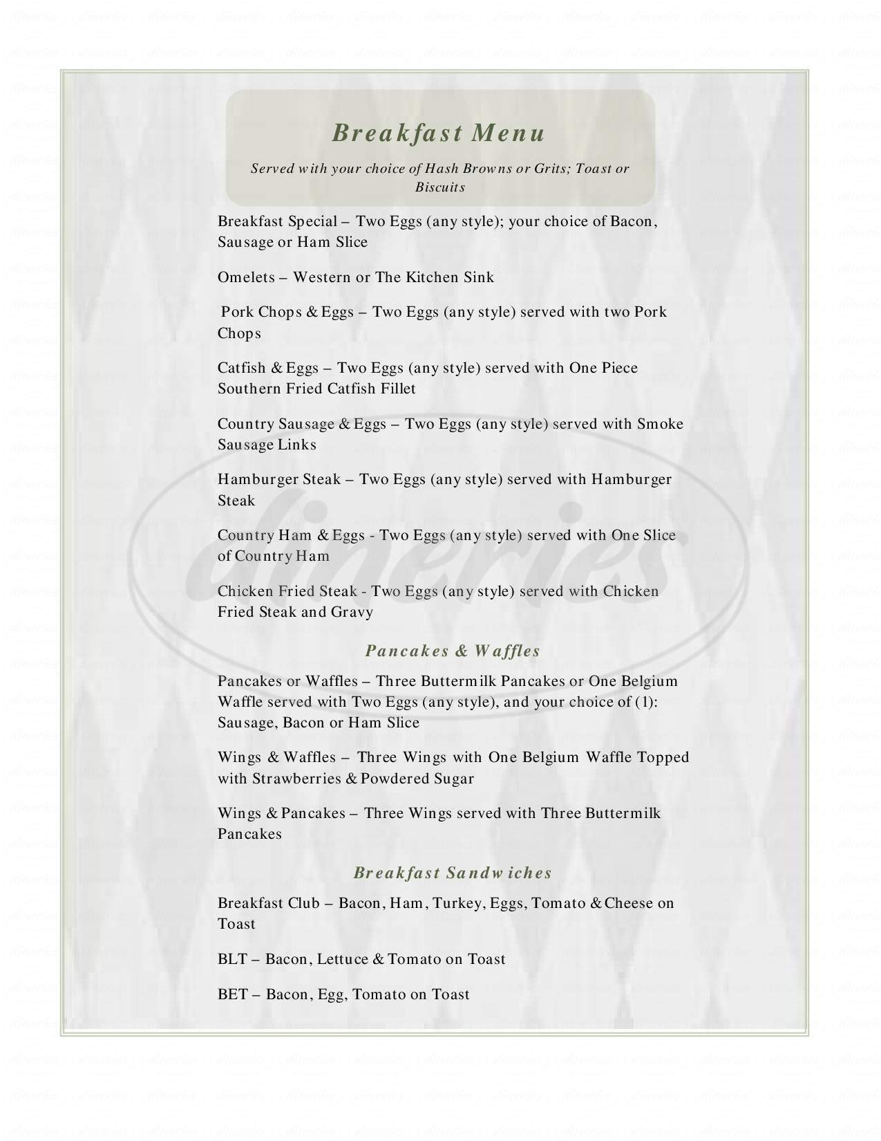 menu for Bayou Cafe & Catering