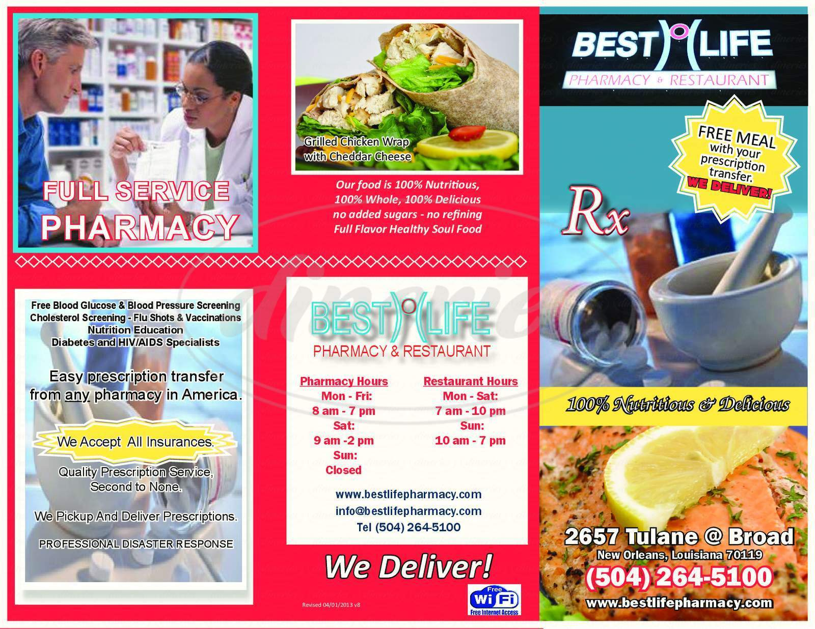 menu for Best Life Pharmacy and Restaurant