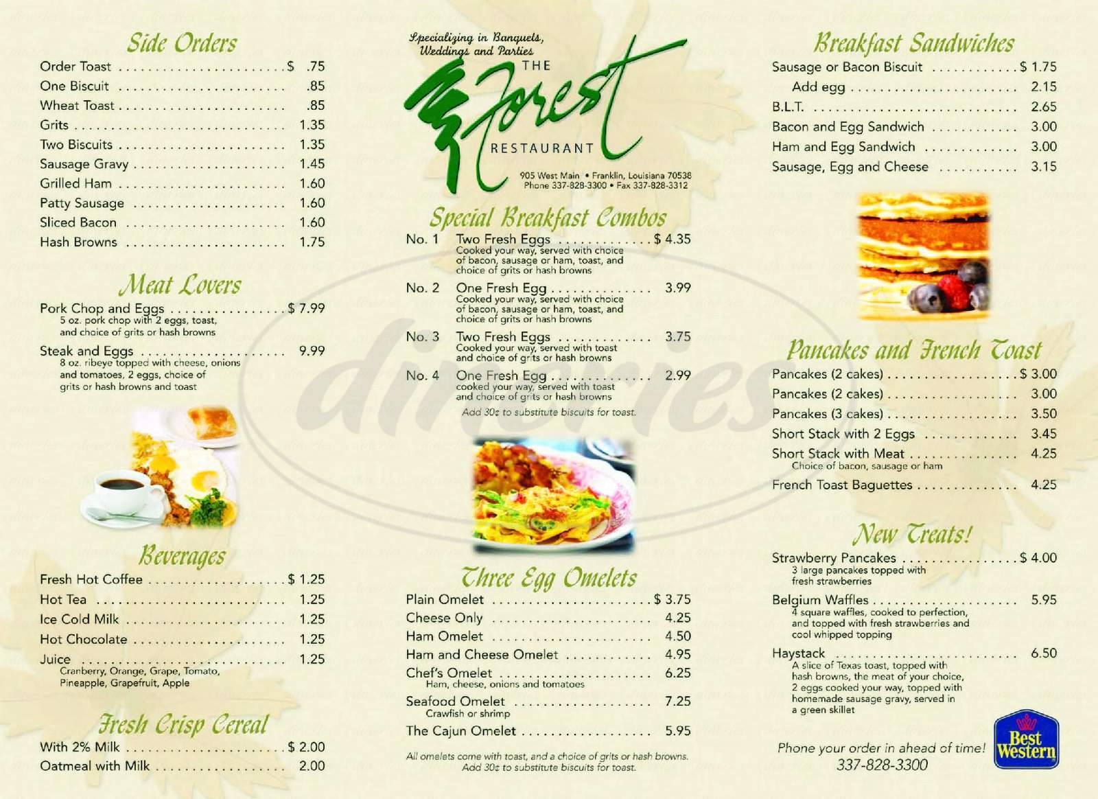 menu for Forest Restaurant