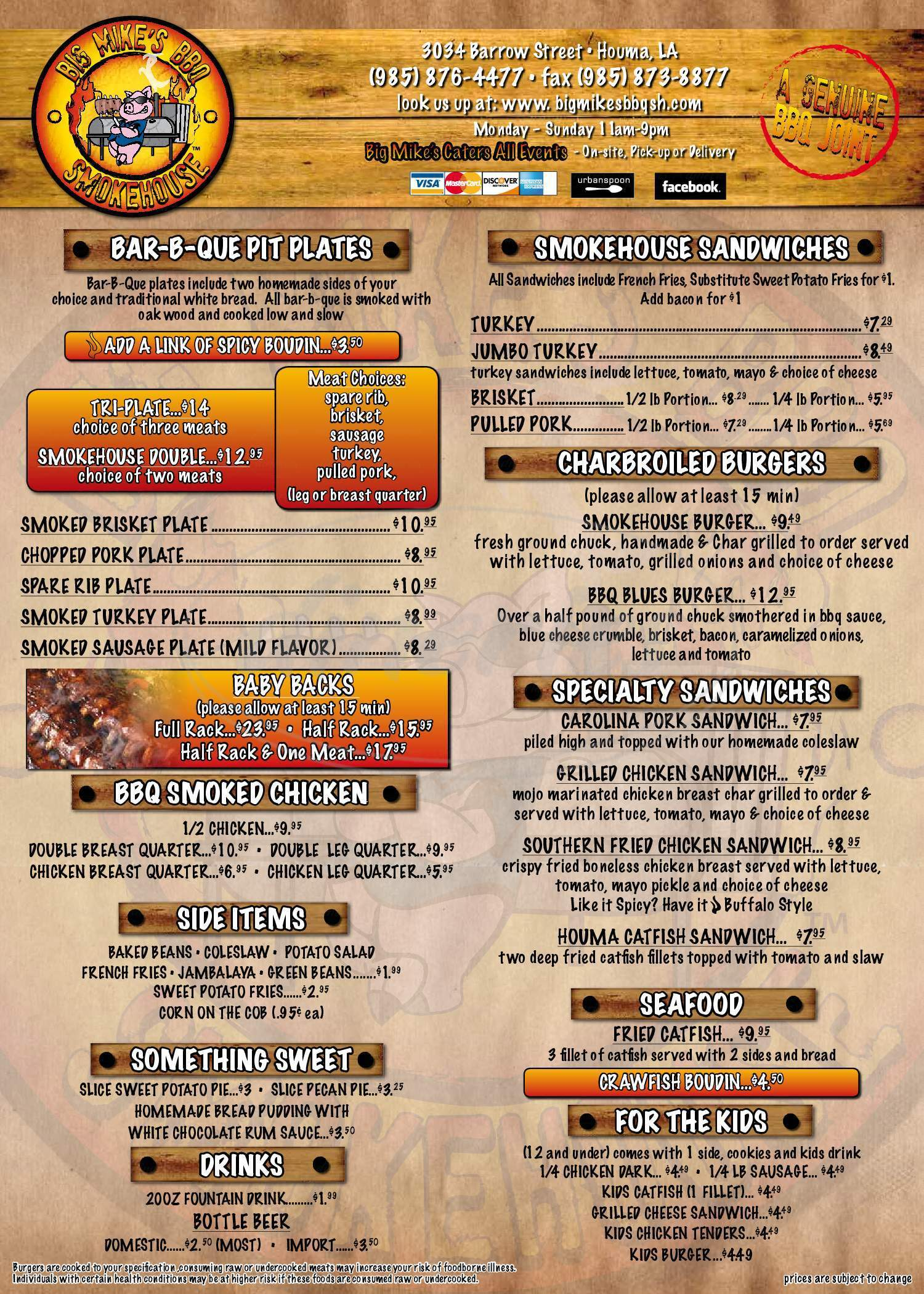 menu for Big Mike's BBQ Smokehouse