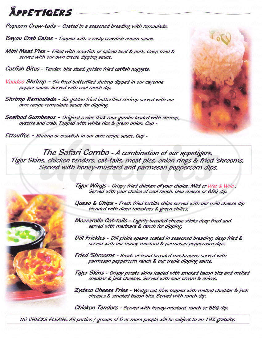 menu for Blind Tiger
