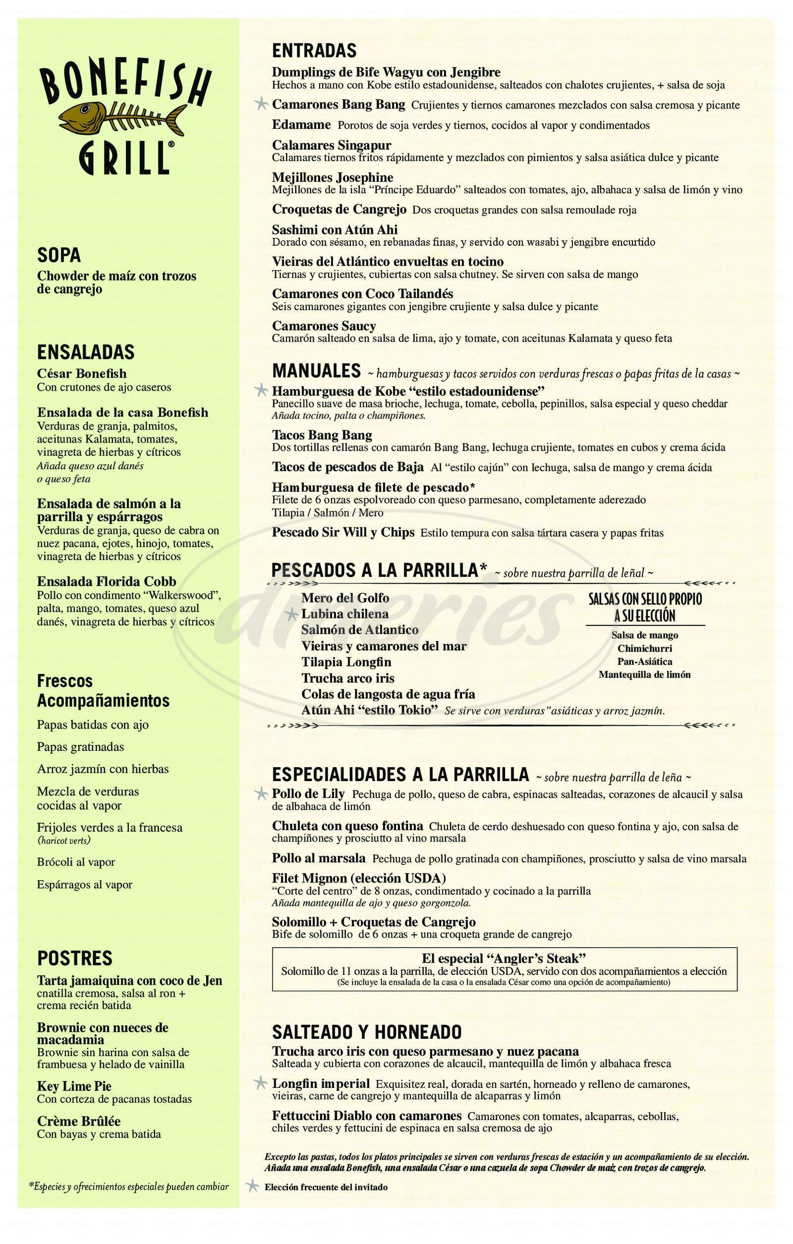 menu for Bonefish Grill
