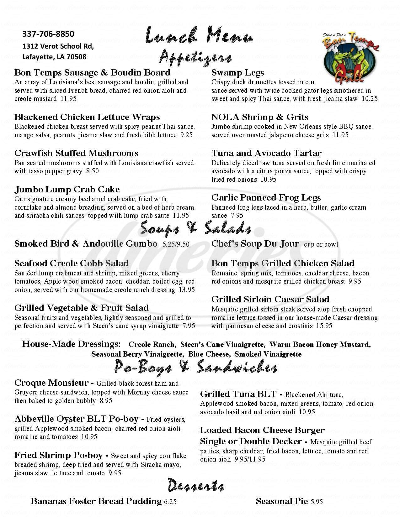 menu for Steve n Pat's Bon Temps Grill