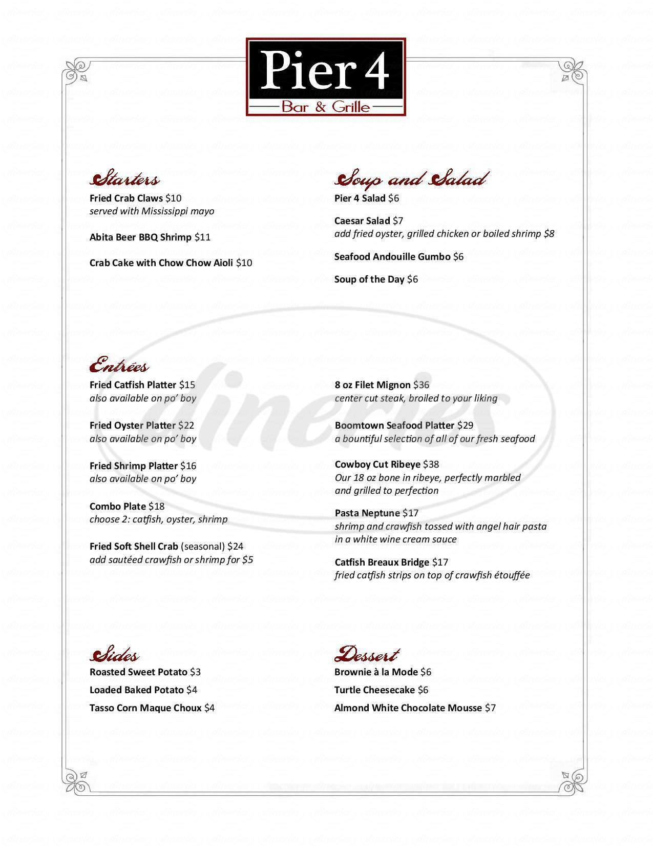 menu for Pier 4