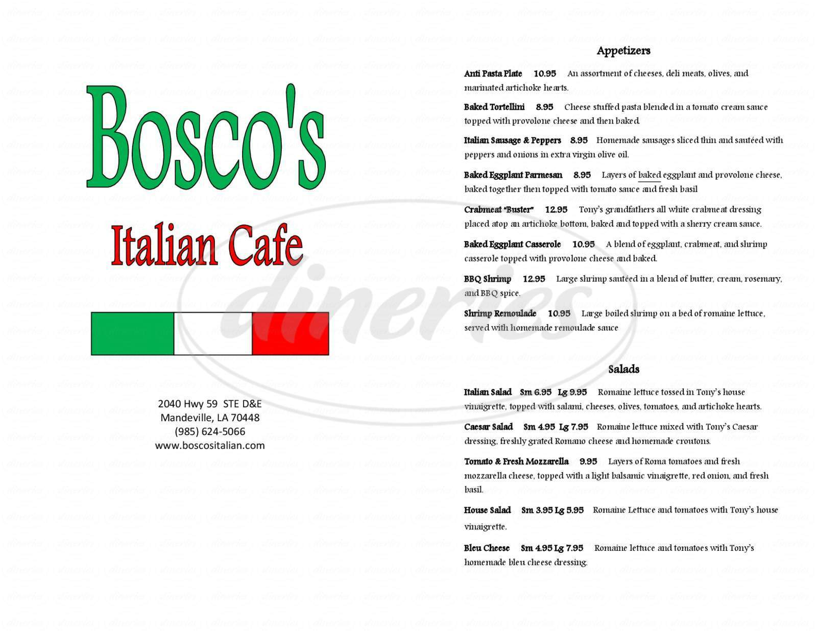 menu for Bosco's Italian Cafe