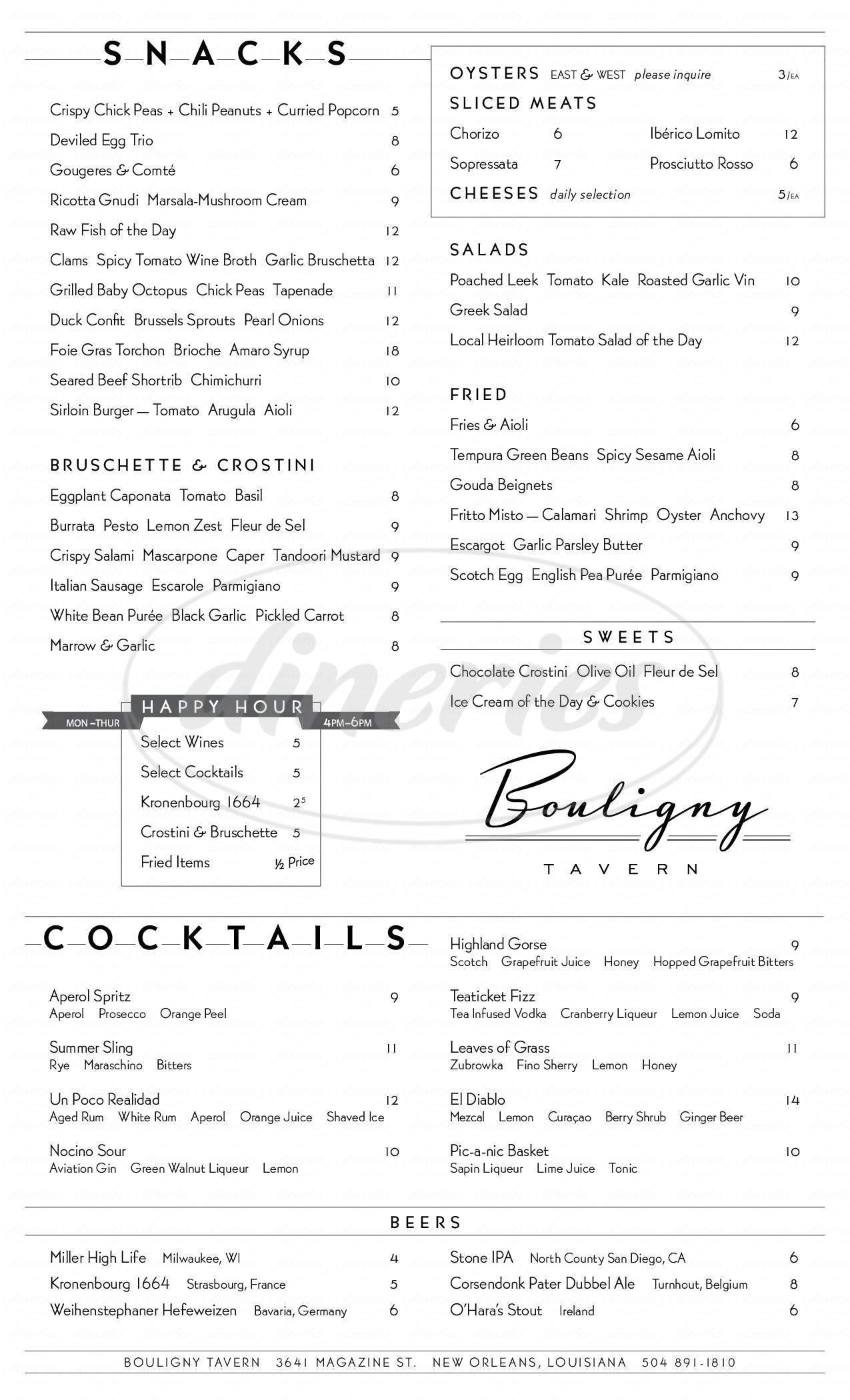 menu for Bouligny Tavern