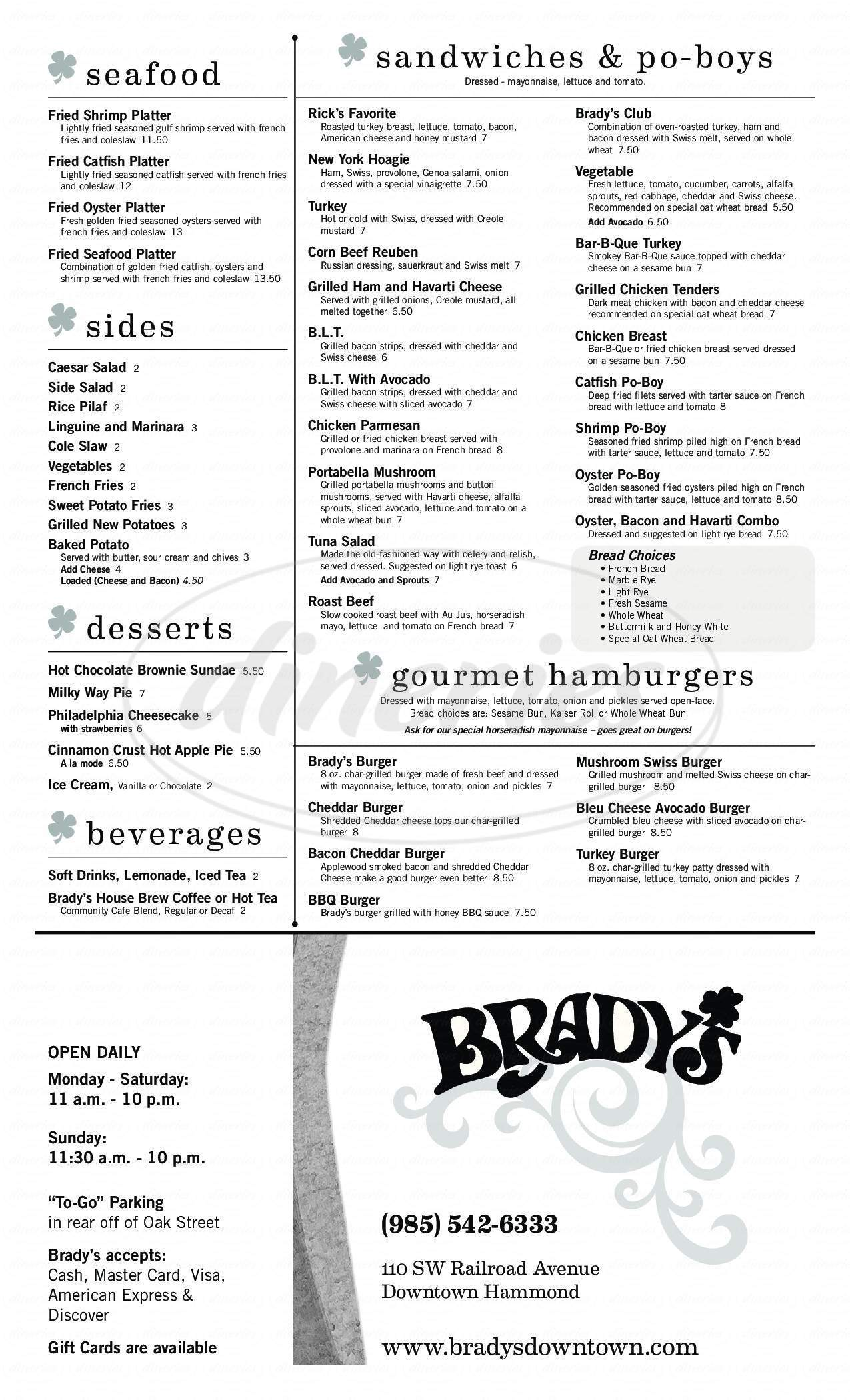 menu for Brady's Restaurant