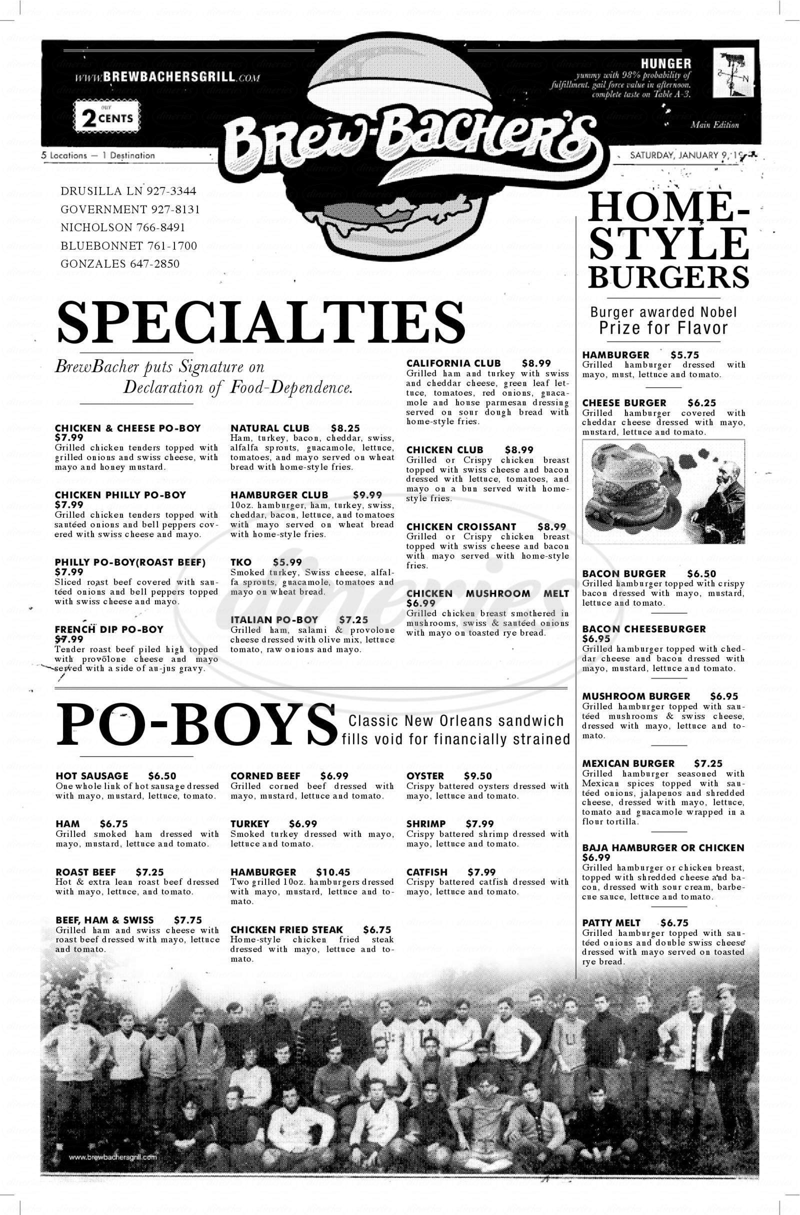 menu for Brew-Bacher's Grill