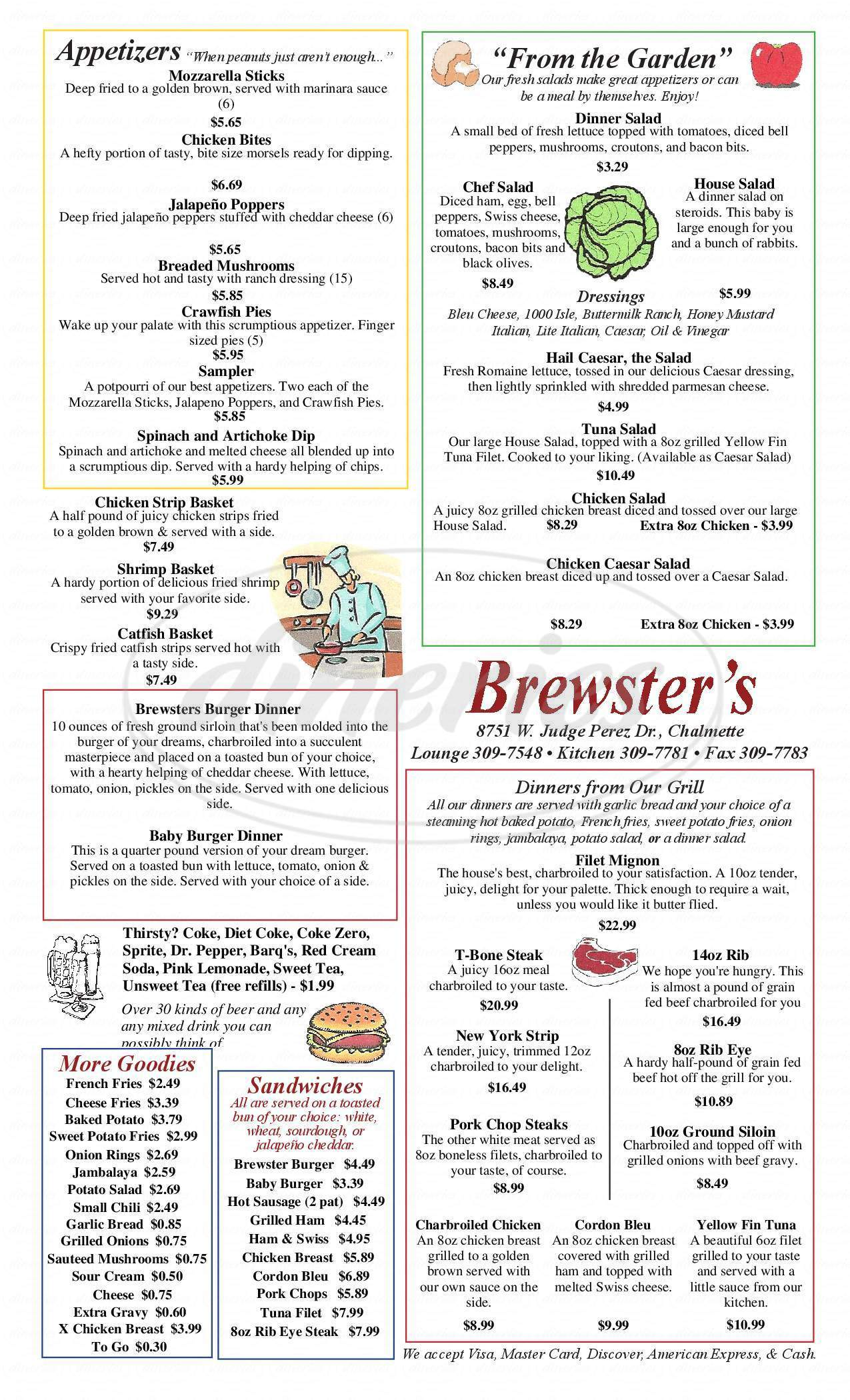 menu for Brewster's