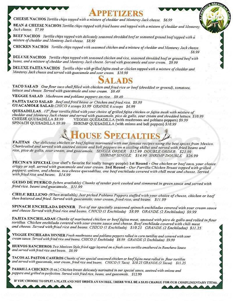 menu for Alfredo's Mexican Cafe