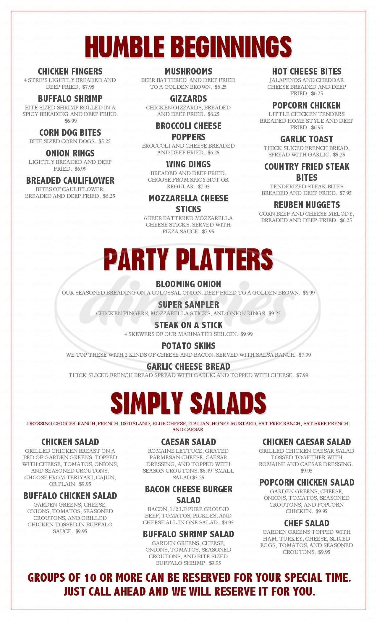 menu for Jack's Steakhouse N Saloon