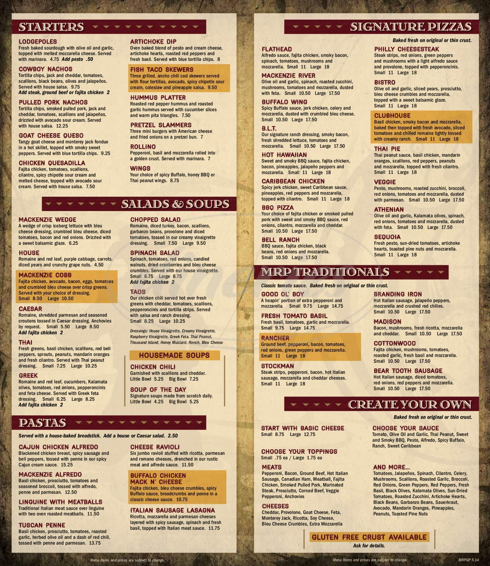 menu for MacKenzie River Pizza Grill & Pub