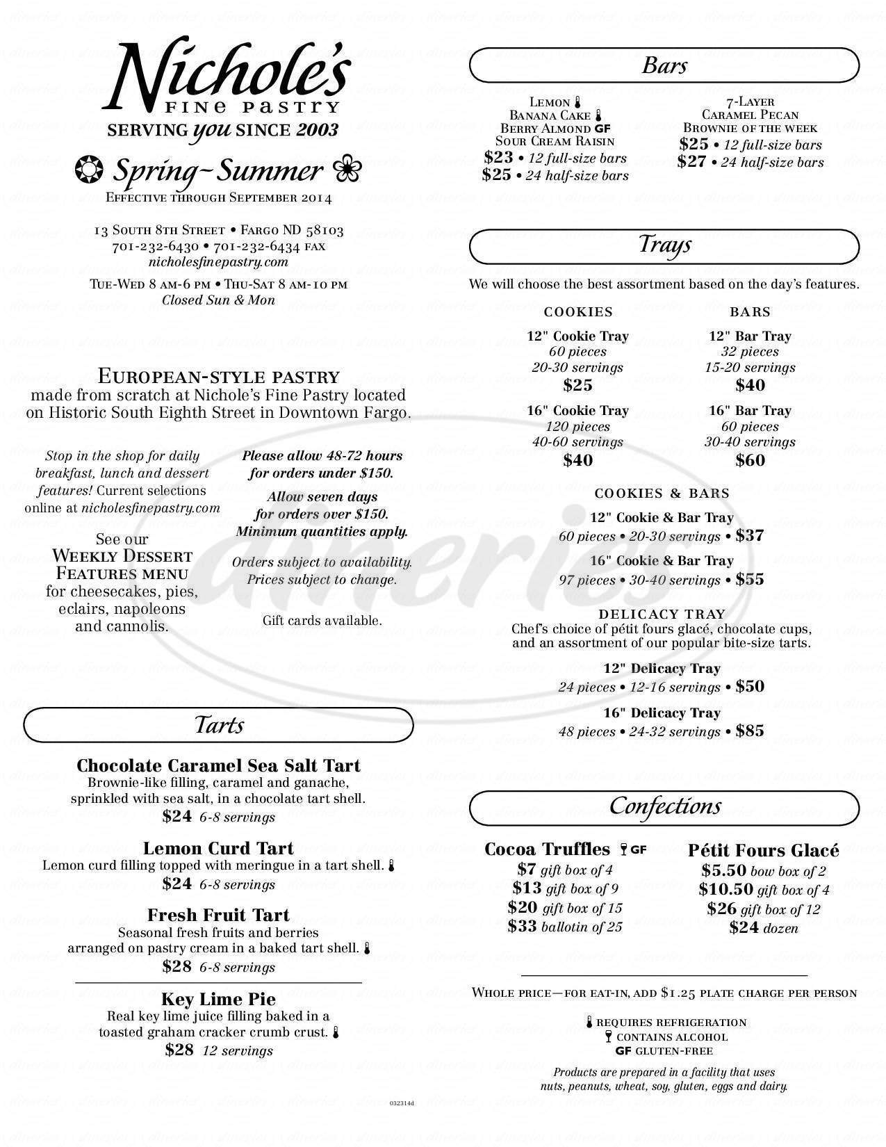 menu for Nicole's Pastry Shop