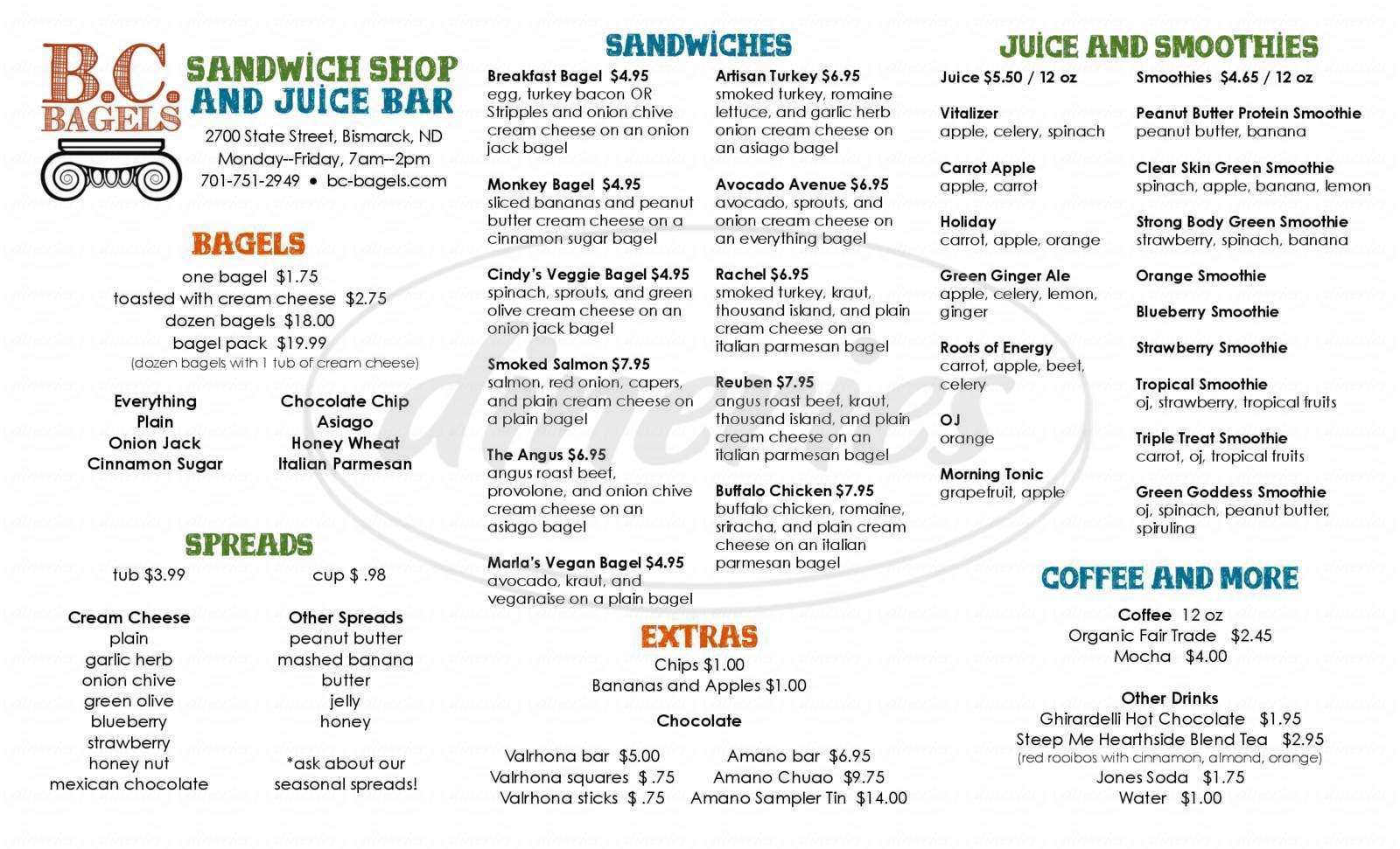 menu for BC Bagels