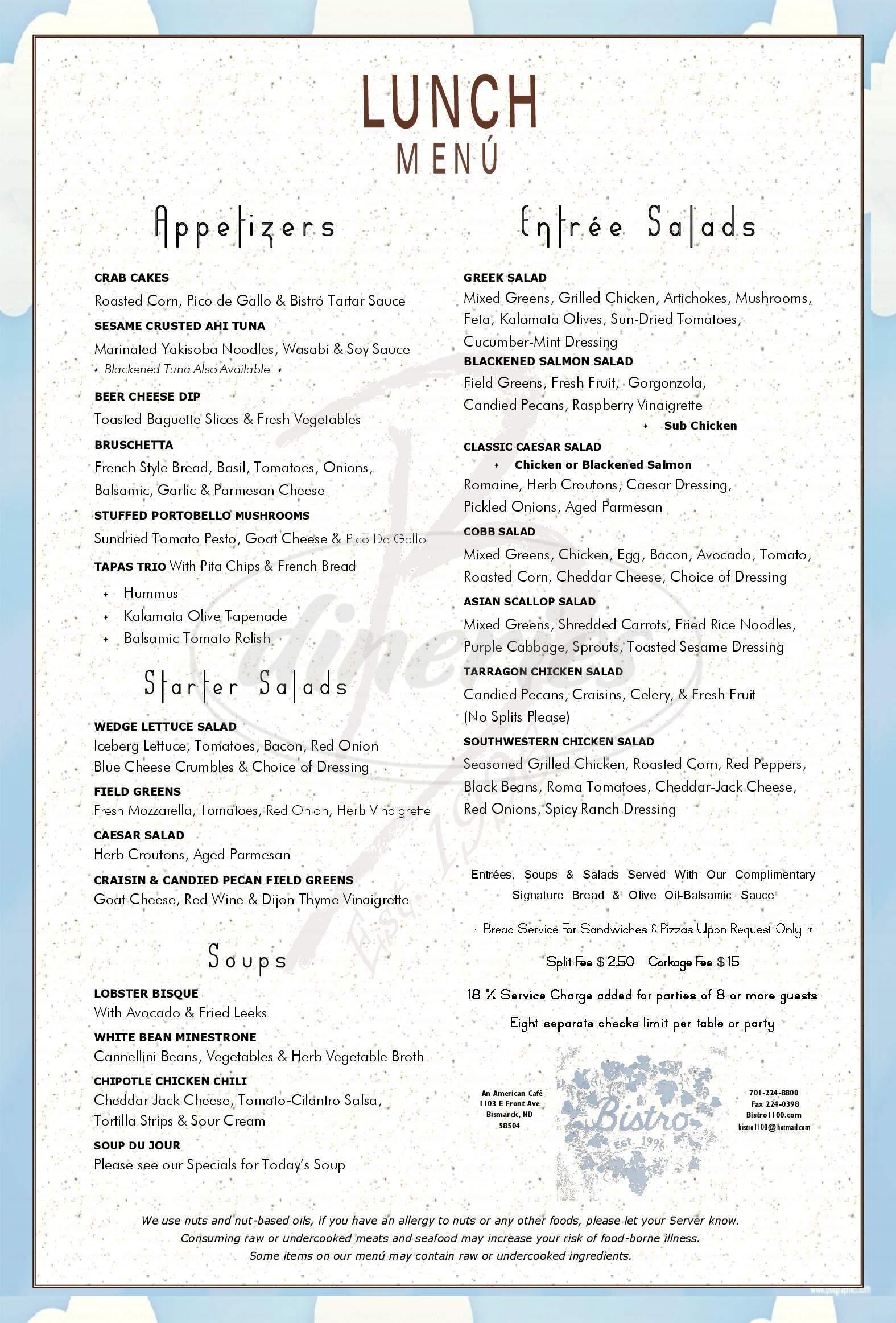 menu for Bistro