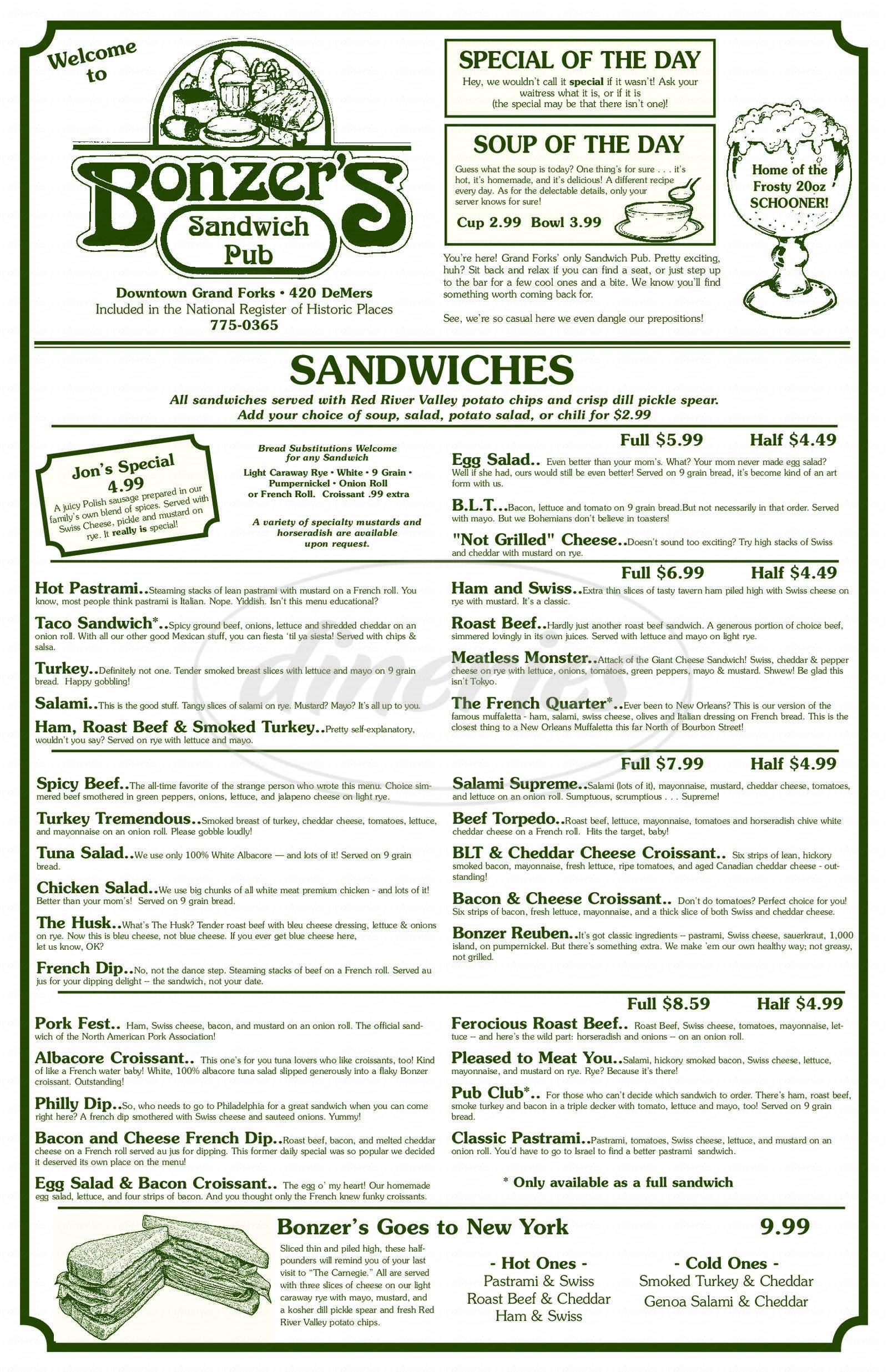 menu for Bonzer's Sandwich Pub