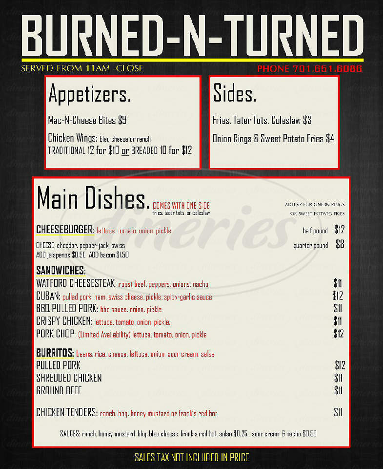 menu for Burned-N-Turned