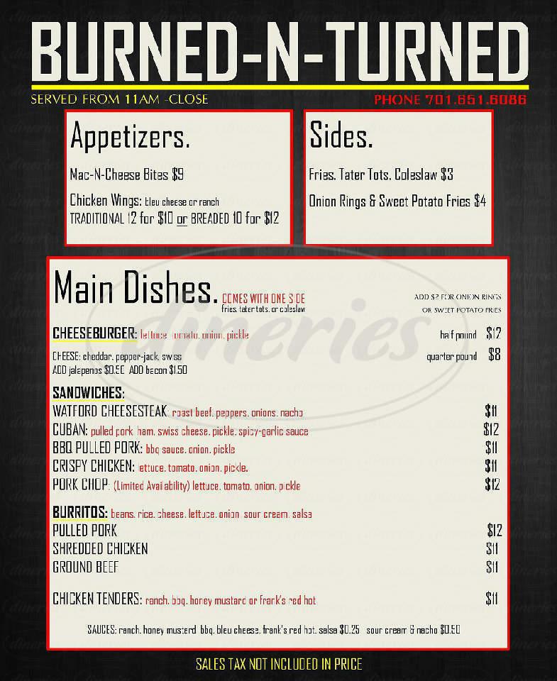 menu for Burned-N-Turned