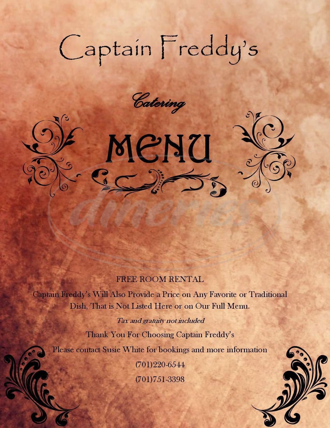 menu for Captain Freddy's