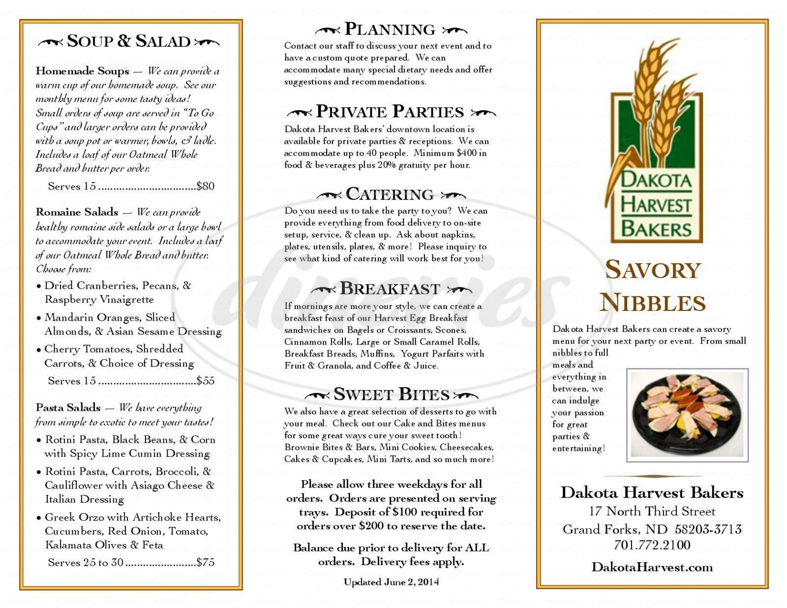 menu for Dakota Harvest Bakers