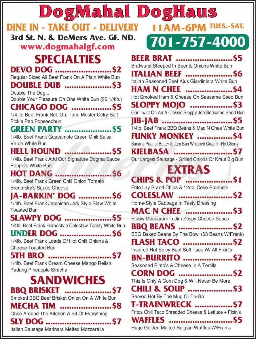 menu for Dogmahal DogHaus