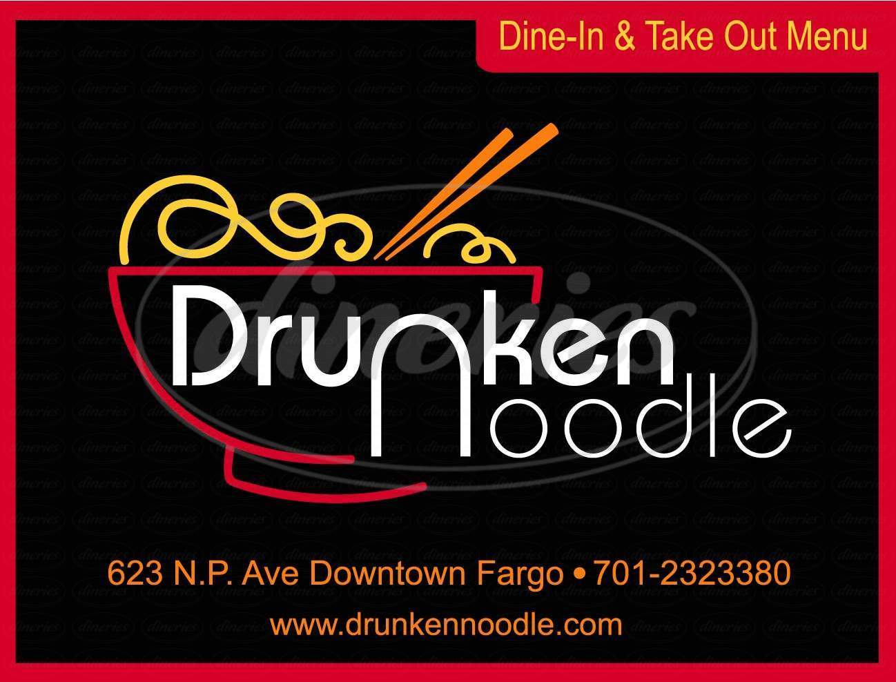 Big menu for Drunken Noodle, Fargo