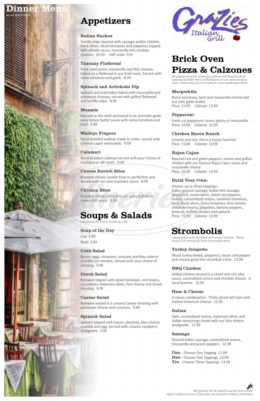menu for Grazies Italian Grill