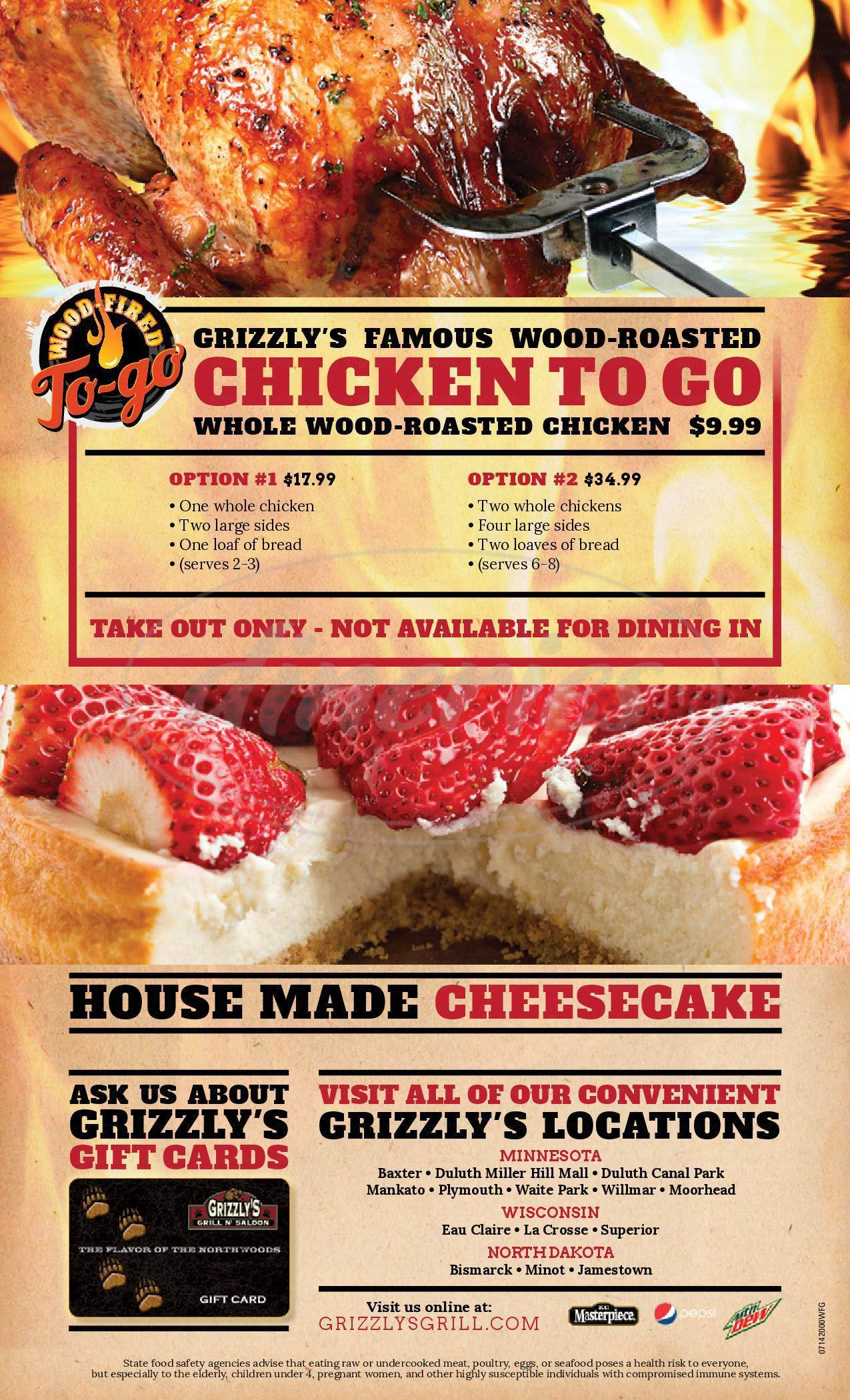 menu for Grizzly's Grill N'saloon