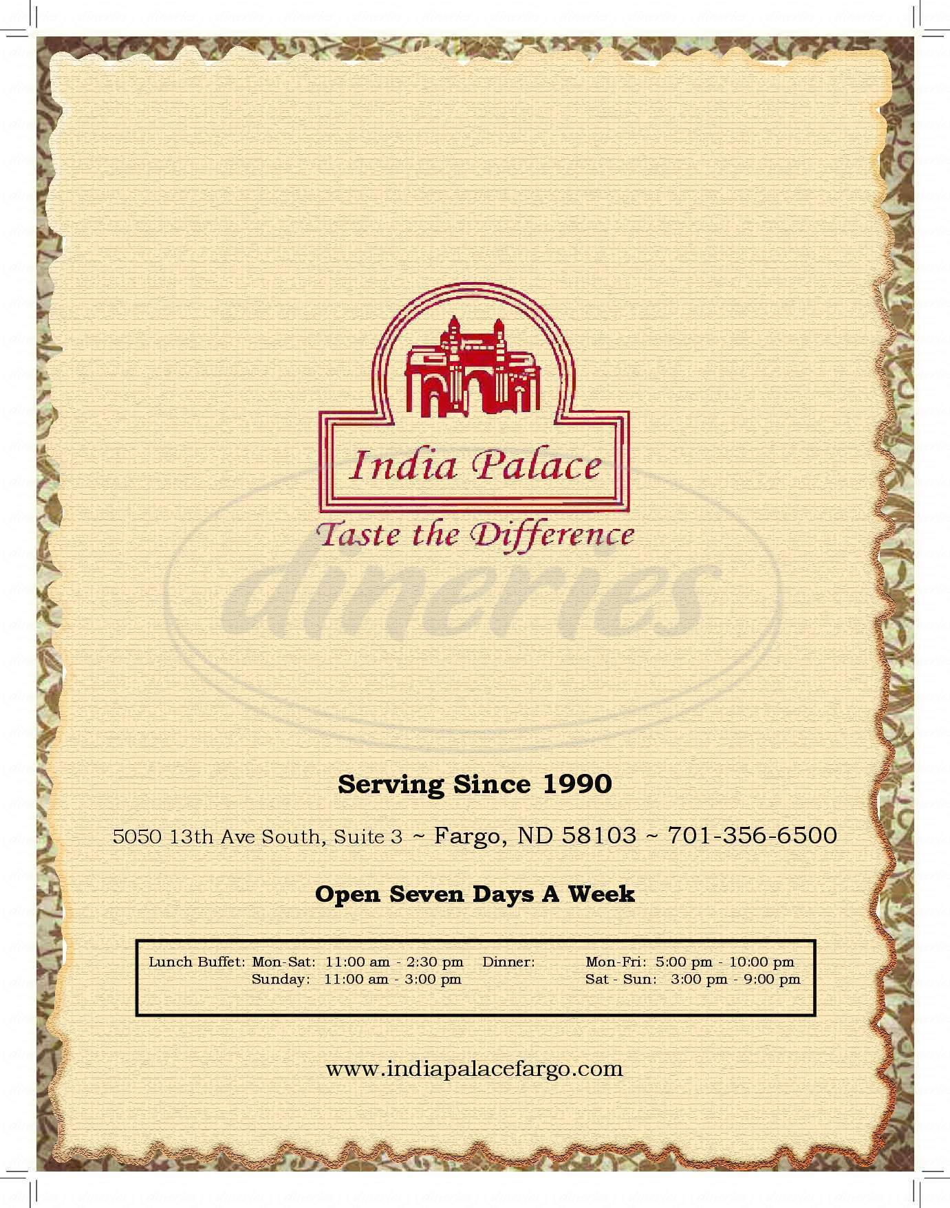 menu for India Palace