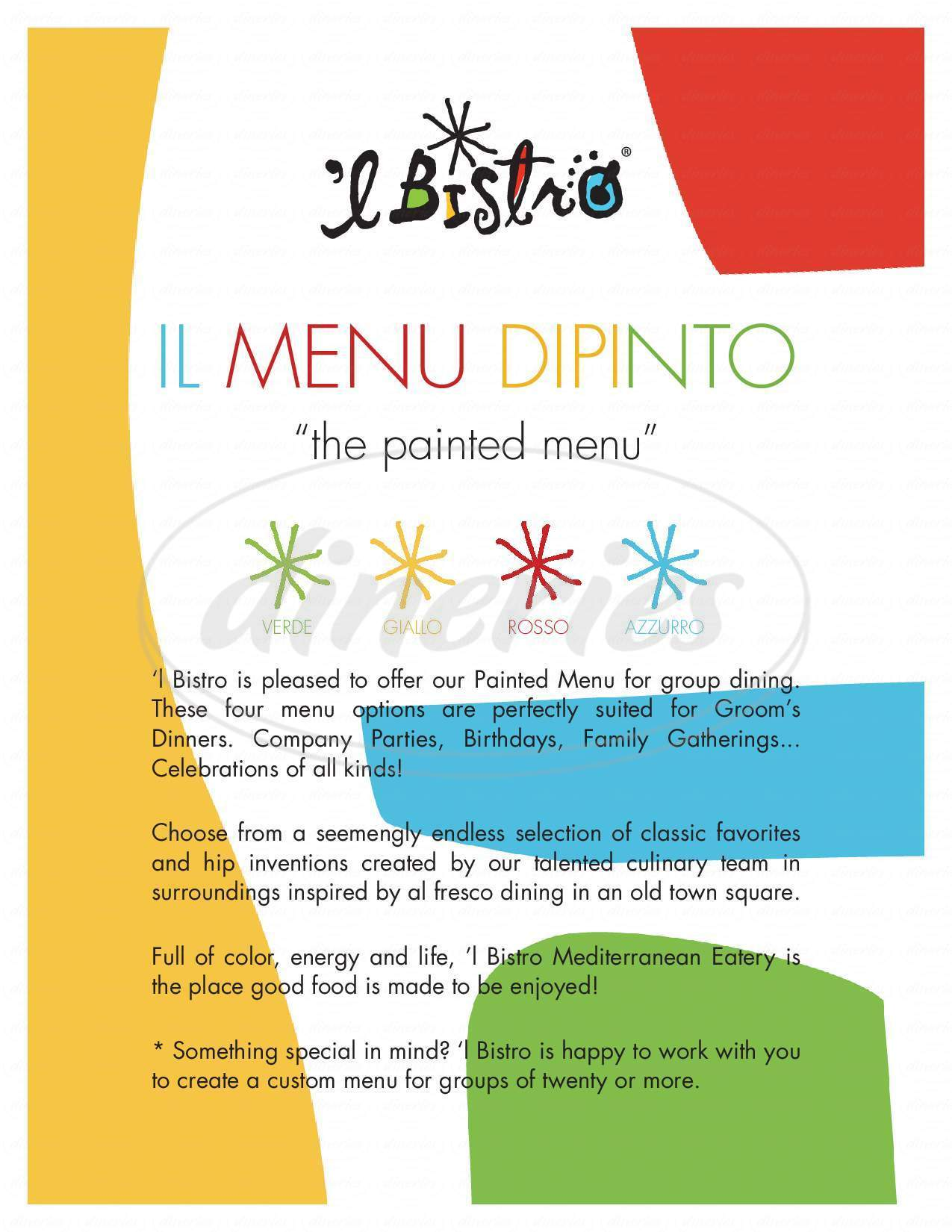 menu for L'Bistro