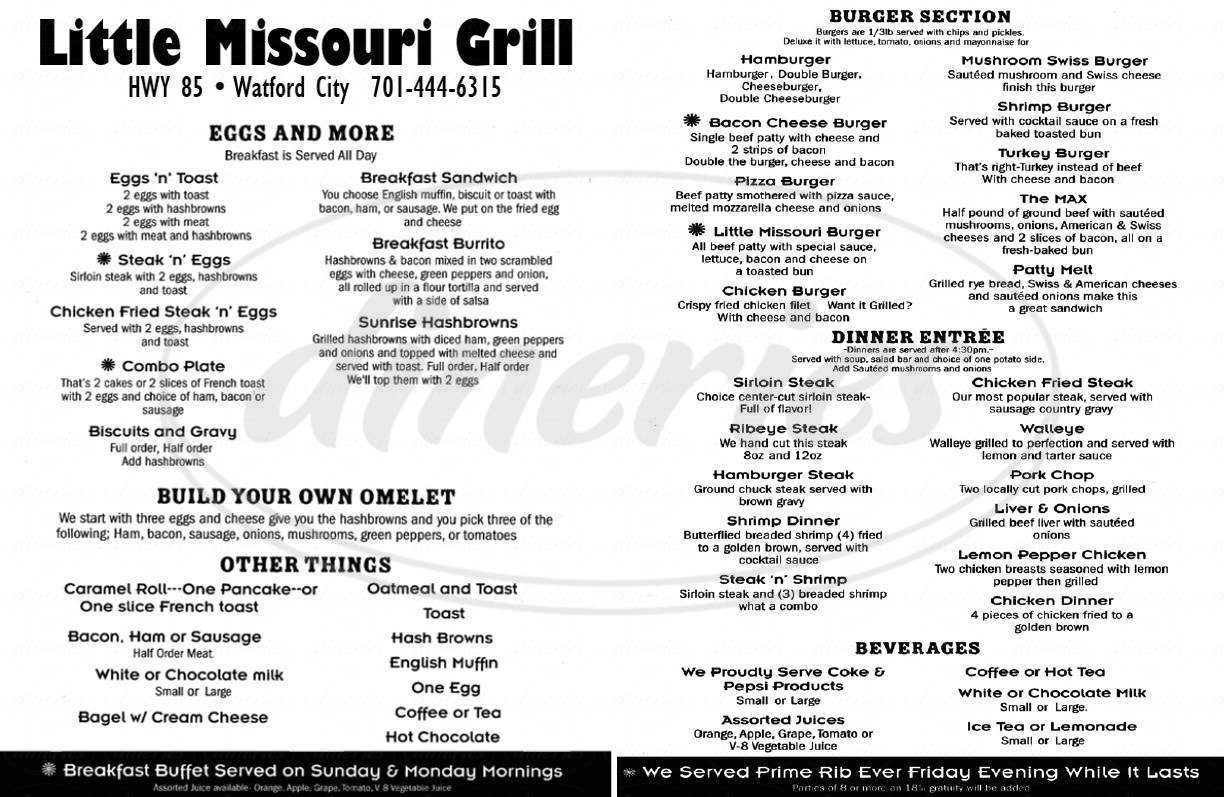 menu for Little Missouri Grille Inc.