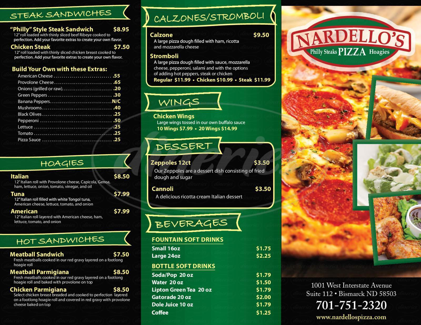menu for Nardello's